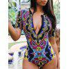 BA0346 Women's Ethnic Print One-piece Swimsuit - CHESTNUT RED