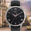 TISSOT Business Classic Quartz Watch with Leather Band for Men - BLACK