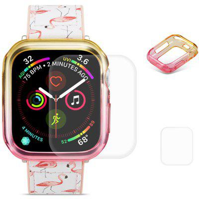 Hat - prince 2 em 1 colorido TPU Half Pack Caso de telefone + Transparent 3D Full Screen para Apple Watch Series 4 44 milímetros