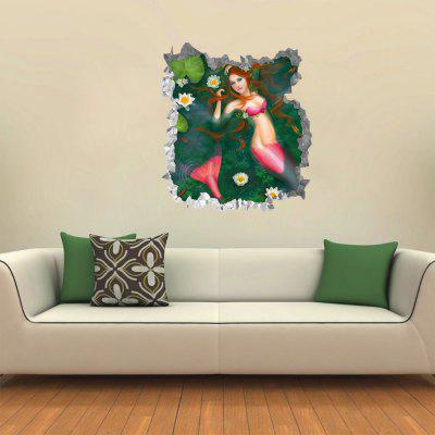 Creative Lotus Pond Mermaid 3D Wall Sticker