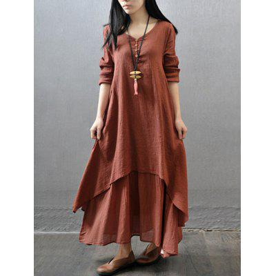 Women Fashion Loose Long-sleeved Solid Color Skirt