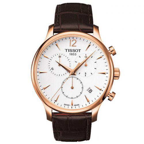 TISSOT Classic Stylish Quartz Watch with Leather Band for Men