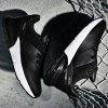Autumn And Winter New Black And White Casual Running Shoes Leather Men's Shoes Youth Students Running Shoes Thick Bottom Shoes - WHITE