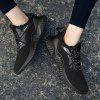 Outdoor Light Trainers Flying Woven Mesh Shoes for Men - BLACK