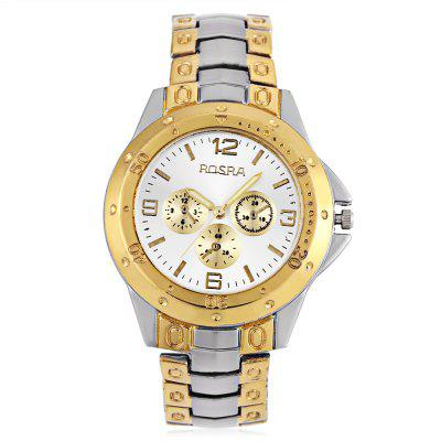 Fashion Men Quartz Watch with 4 Arabic Numbers 8 Rectangle Hour Marks and Steel Watchband