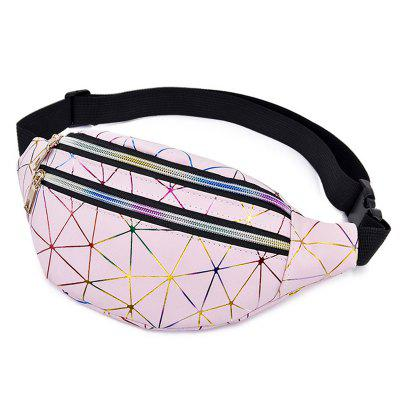 YB01002 Foldable Rhombic Patent Leather Laser Waist Bag