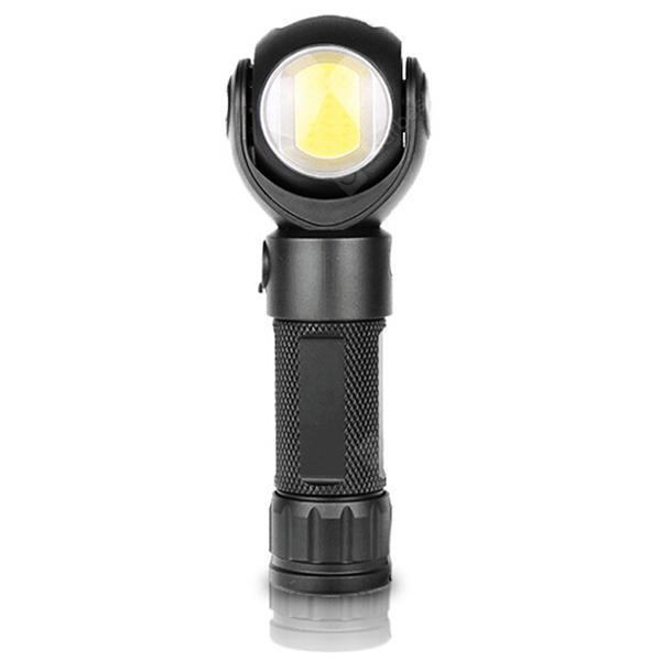 360-degree Rotating LED Flashlight Work Light - Black