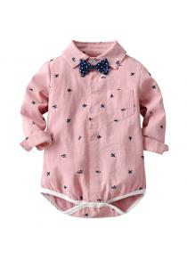 Baby Printed Long-sleeved Bow Tie Bodysuit