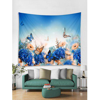 Flowers and Butterfly Print Tapestry Wall Hanging Art Decoration