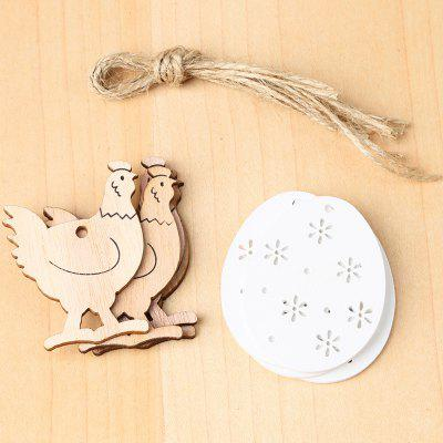 JM01125 Easter Wooden Cock Egg Decorations 8pcs ( with 8 Hemp Ropes About 25cm Long )