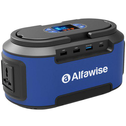 Gearbest Alfawise S420 220Wh Portable Electricity Power Station Battery Generator - Blue EU Plug with QC3.0 Quick Charge Type-C Port LED Flashlight