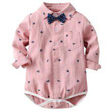 Printed Long-sleeved Bow Tie Bodysuit