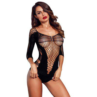 LC790036 Female Bodysuit Quarter Sleeve Off-the-shoulder Hollow Mesh Teddy