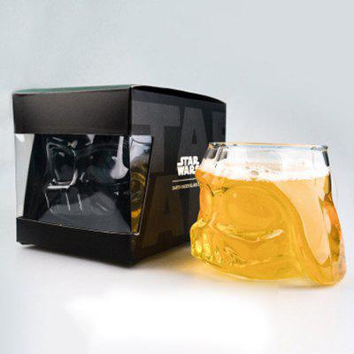 Double-layer Beer Mug White Warrior Black Warrior Transparent Glass Cup Creative High Borosilicate Cup Teacup