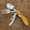Aotu AT6386 Outdoor Camping Multi-function Folding Knife Fork Set - YELLOW