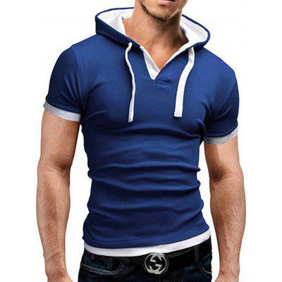 Men's T-shirt Large Size Hooded Short-sleeved Stitching
