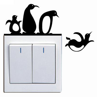 Penguins Switch Sticker Cartoon Pegatina Wall Stickers for Kids Room Home Decor