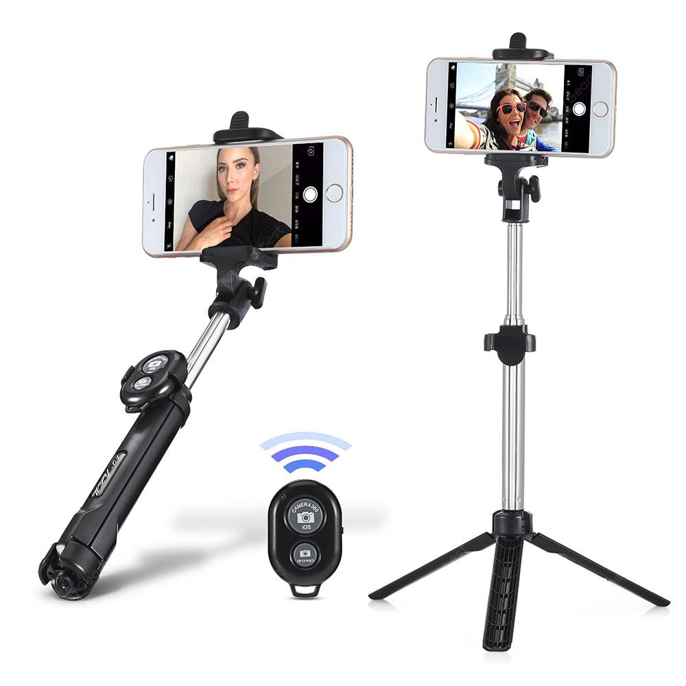 gocomma 3 in 1 Handheld Extendable Bluetooth Selfie Stick Tripod Monopod Remote Control - Black