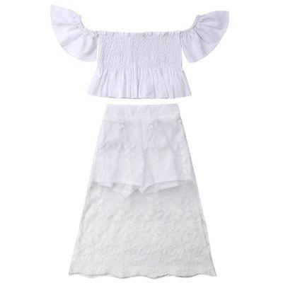 FT1756 Girls' Sweet Shoulder Tops Lace Pants Two-Piece