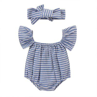 TZY18580 Baby Girl Personality Striped Triangle Romper + Hair Band Two-piece