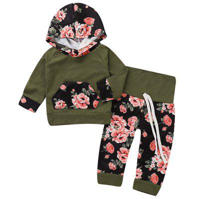TZY20894 Baby Flower Hooded Top + Lace Trousers Two-piece