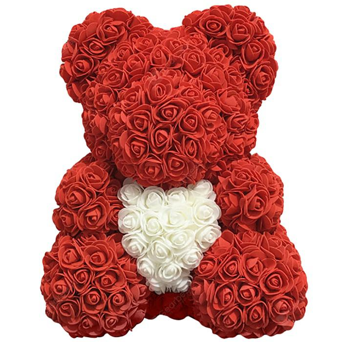 Love Flower Rose Bear Toy 40cm - Red