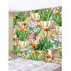 Potted Flowers Print Tapestry Wall Hanging Art Decoration - MEDIUM SPRING GREEN