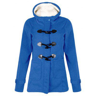 Woman's Hooded Coat with Horn Button
