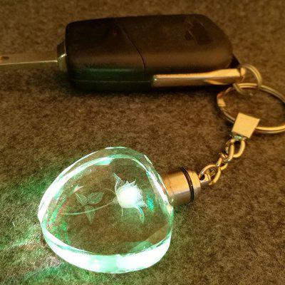 Valentine's Day Series Glowing Crystal Clover Rosette Keychain
