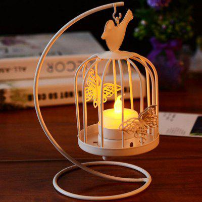 Retro Creative Bird Cage Wrought Iron Candlestick