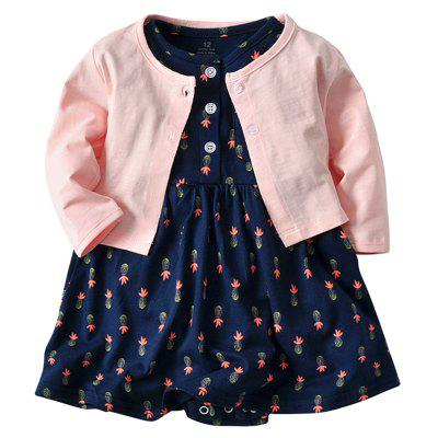 19F011 Baby Cotton Dress Jacket Two-piece