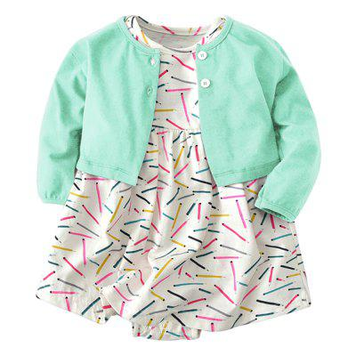 19F004 Baby Girls' Cotton Long-sleeved Coat Two-piece