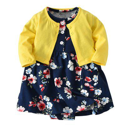 19F001 Baby Girls' Cotton Long-sleeved Jacket Two-piece