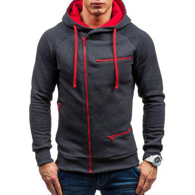 Casual Slim Zipper Cardigan Hooded Sweater for Men