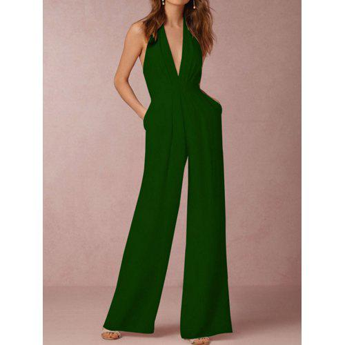 a25a2cbc3bf SYWT 322 Women Fashion Sexy V-neck Sleeveless Halter Pure Color Backless  Jumpsuit