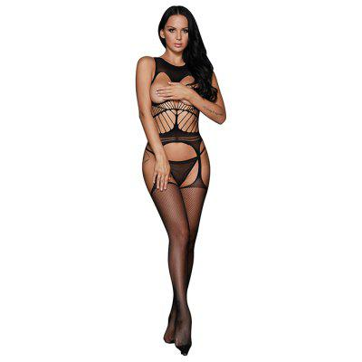 LC79896 - 2 Off-the-shoulder Open Cup Netted Suspender Body-stocking