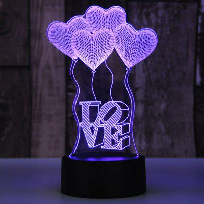LED Colorful USB napájení Malá stolní lampa Creative 3D Gift Love Balloon Night Light