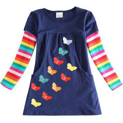 LH5803 Girls' Dress Embroidered Butterfly Cotton Rainbow Long Sleeve