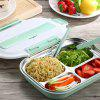 Wheat Element 304 Stainless Steel Grid 2 Single Layer 1 Separation Student Adult Insulation Lunch Box - BLUE KOI