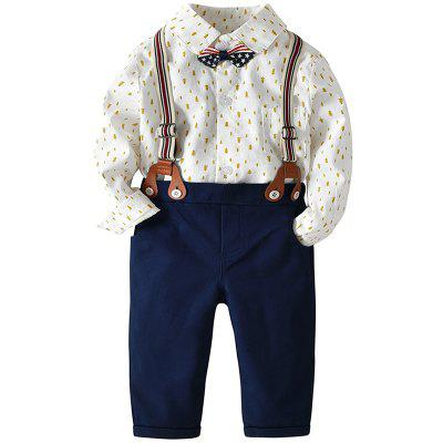 19F060 European And American Boys Printed Romper Bib Tie Bowknot Gentleman Four-Piece Set