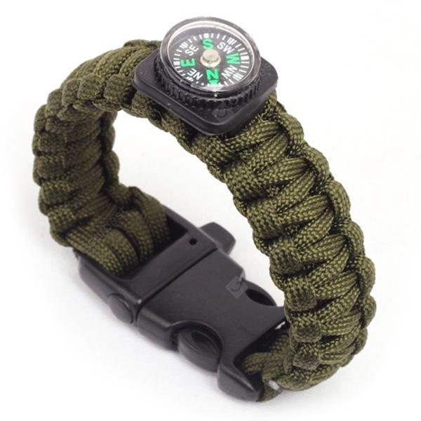 Handmade Woven Outdoor Camping Escape Emergency Compass Whistle Bracelet