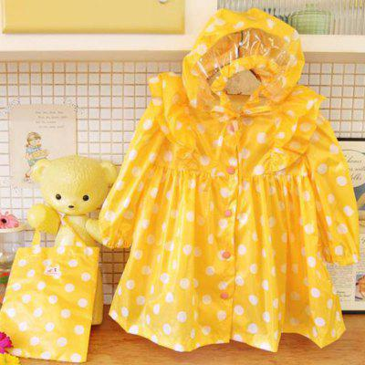 NS - 06 Girls Polka Dot Poncho Nylon Waterproof Raincoat