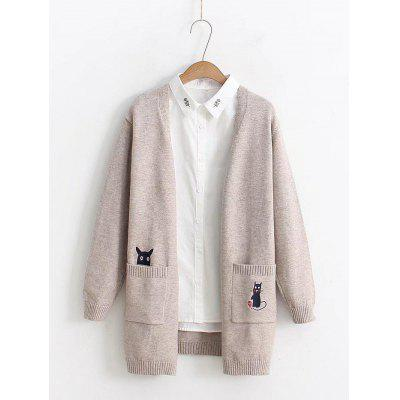 Japanese Medium Length Sweater Pocket Cartoon Embroidery Cardigan Jacket