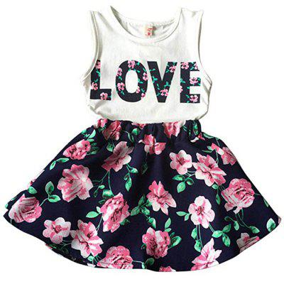 Korean Children's Clothing Girls LOVE Letters Sleeveless Vests Skirt Two-piece
