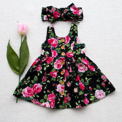 Summer Girl Floral Sling Dress with Bow Tie Hair Band