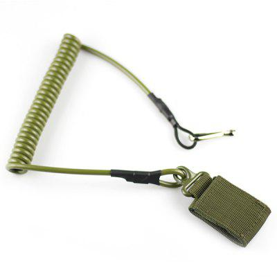 Outdoor Army Fan Spring Gun Rope Elastic Key Ring Lanyard