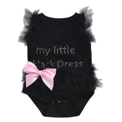 Cute Little Girl English Letter Lace Dress  0 - 6 Months ( 70 )