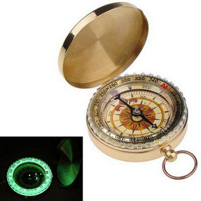Brass Noctilucent Pocket Compass Navigation