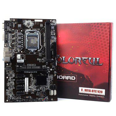 Placa-mãe colorida C.H81A - BTC V20 Intel