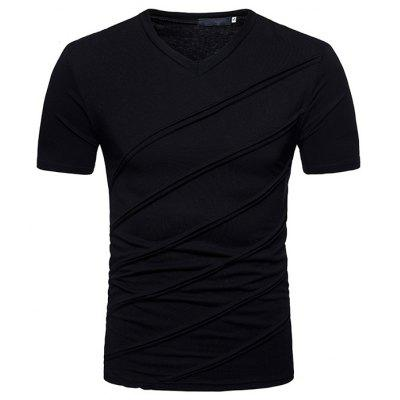 Large Size Men T-shirt with Pleated Short-sleeved V-neck